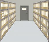 Archive. The Room For Storage Of Documents. Interior. There Are Racks With Folders And A Door With A poster
