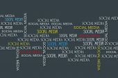 Social Media Concept Background. Many Different Inscriptions Social Media On A Dark Background. Soci poster