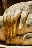 Hand Of The White Buddha Statue In Wat Sri Chum Temple In Sukhothai Historical Park In Sukhothai, Th poster