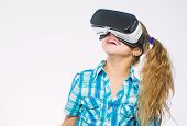 Get Virtual Experience. Girl Cute Child With Head Mounted Display On White Background. Virtual Reali poster