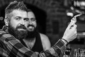 Hipster Brutal Bearded Man Spend Leisure With Friend At Bar Counter. Order Drinks At Bar Counter. Me poster