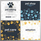 Pet Shop, Care, Pet Sitting. Adoption. Home Animals. Banner With Cat Or Dog Paws. Hand Draw Doodle B poster