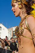 Sesimbra, Portugal - February 20: Samba Dancer In The Sesimbra Carnival