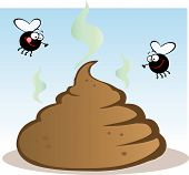 stock photo of stinky  - Stinky Pile Of Poop With Two Flies - JPG
