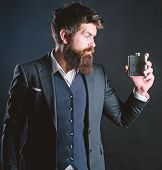 Man Bearded Hipster Wear Elegant Suit Hold Metal Flask For Alcohol. Alcohol Drink. Have Alcohol Drin poster
