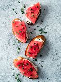 Toasts With Soft Cheese And Watermelon.salty Cheese, Sweet Watermelon And Spicy Thyme On Crispy Gril poster