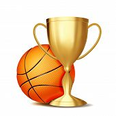 Basketball Game Award . Basketball Ball, Golden Cup. Modern Tournament. Design Element For Sport Pro poster