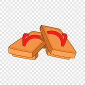 Pair Of Wooden Clogs Icon. Cartoon Illustration Of Pair Of Wooden Clogs Vector Icon For Web poster