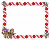image of candy cane border  - Image and illustration composition for Christmas Holiday background border or photo frame with copy space - JPG
