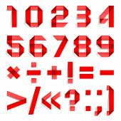 pic of arabic numerals  - Font folded from colored paper  - JPG