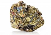 foto of pyrite  - Close up of Chalcopyrite crystal isolated over white background - JPG