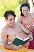 stock photo of wet pants  - Reading after bath - JPG