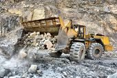 Wheel Loader Machine Unloading Rocks