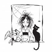 stock photo of baby spider  - Baby witch with black cat raven and spider looking out the window  - JPG
