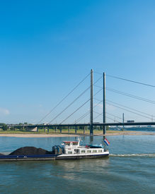 pic of coal barge  - Dutch barge loaded with coal on the Rhine at Dusseldorf Germany - JPG