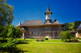 stock photo of suceava  - Sucevita painted monastery in Romania - JPG