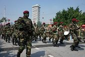 KUALA LUMPUR - AUGUST 31: Drummers and musicians from the 10th Airborne Brigade parade on the city s