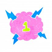 retro cartoon thundercloud symbol with number one