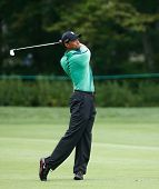 NORTON, MA-SEP 1: Tiger Woods hits a fairway shot during the third round at the Deutsche Bank Champi