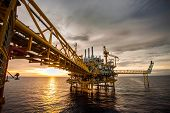 stock photo of rig  - oil and rig platform in the sea - JPG