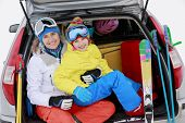stock photo of family ski vacation  - Winter - JPG