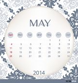 2014 calendar, vintage calendar template for May. Vector illustration.