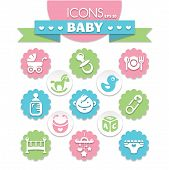 picture of universal sign  - collection of universal baby icons eps10 vector illustration - JPG