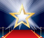 picture of broadway  - vector golden star over red carpet and spotlights - JPG