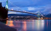 foto of sea lion  - The lions gate bridge in Vancouver at Dusk - JPG
