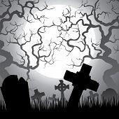 foto of graveyard  - Spooky Halloween cemetery with graveyard trees fog and moon - JPG