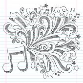 image of tween  - Music Note Back to School Sketchy Notebook Doodles with Music Notes and Swirls - JPG