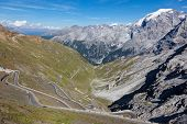 The South Tyrol side of Stelvio Pass (Italian: Passo dello Stelvio), located in Italy, at 2757 m  is