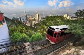 pic of tram  - The Victoria Peak Tram and Hong Kong city skyline - JPG