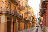 Valencia Bolseria Street in Barrio del Carmen downtown Spain