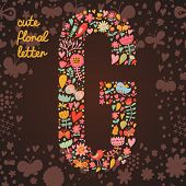 The letter G. Bright floral element of colorful alphabet made from birds, flowers, petals, hearts an