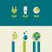 picture of save water  - Set of flat design vector illustration concepts for green energy and save the planet - JPG