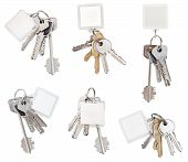 Set Of Bunch Of Door Keys With Blank Keychain