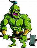 image of ogre  - Cartoon ogre with a big hammer - JPG
