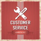 image of slogan  - Customer Service with Icon of Crossed Screwdriver and Wrench and Slogan on Red Striped Background - JPG