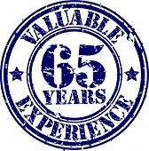 Valuable 65 years of experience rubber stamp, vector illustration