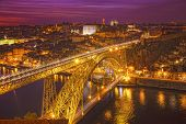 Bridge of Luis I at night over Douro river Porto Portugal