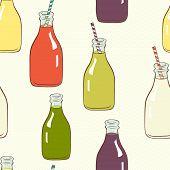 stock photo of fruit shake  - pattern with hand drawn cartoon bottles with striped straws and fresh drinks Lemonade - JPG