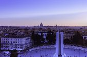 Piazza Del Popolo At Sunset