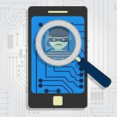 foto of malware  - Malware detected on smartphone represented by a magnifying glass focusing on the figure of a thief - JPG