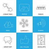 stock photo of video chat  - social media icons of friends like videos  - JPG