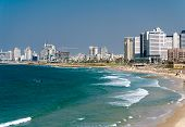 Tel Aviv And Beach Along The Coast