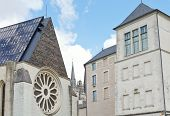 stock photo of anjou  - facades of medieval urban houses in Angers city France - JPG