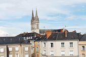 stock photo of anjou  - view of urban houses and Saint Maurice Cathedral in Angers France - JPG