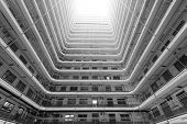 stock photo of public housing  - Old public residential building in Hong Kong - JPG
