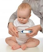 picture of meter stick  - Mother measuring glucose level blood chemistry test from diabetes child baby using glucometer on a white background - JPG